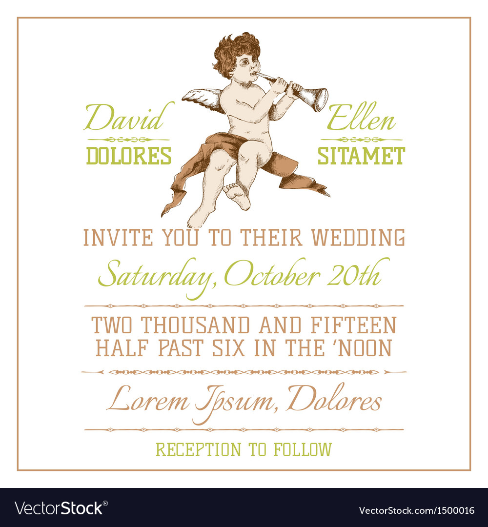 Wedding vintage invitation card vector | Price: 3 Credit (USD $3)