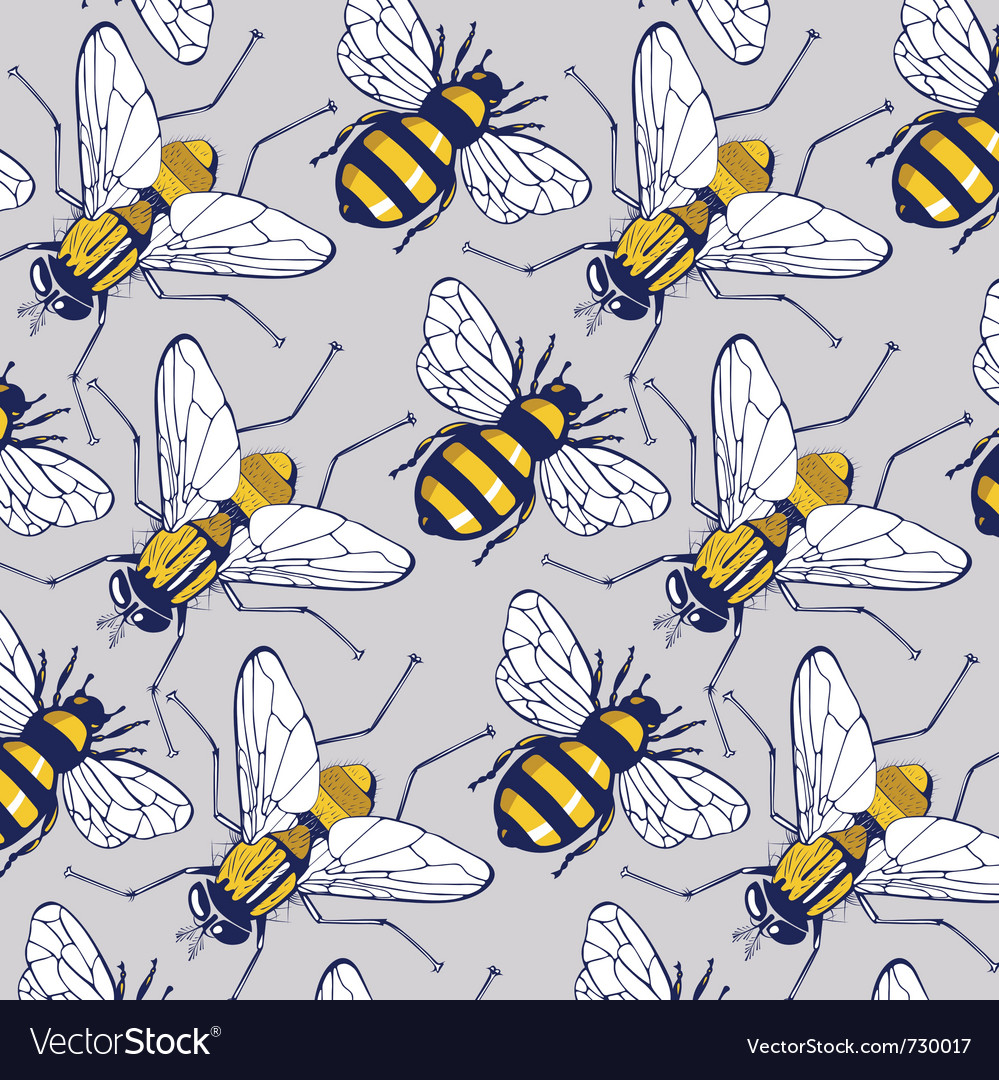 Bee fly background pattern vector | Price: 1 Credit (USD $1)