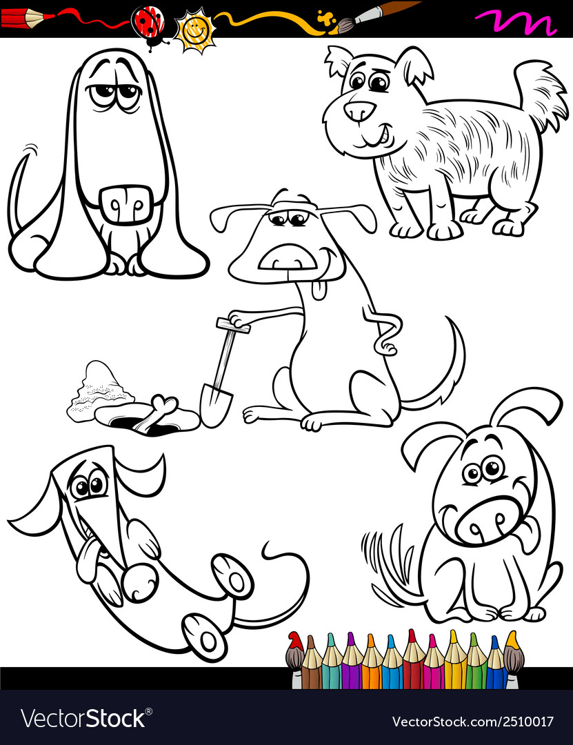 Dogs set cartoon coloring book vector | Price: 1 Credit (USD $1)