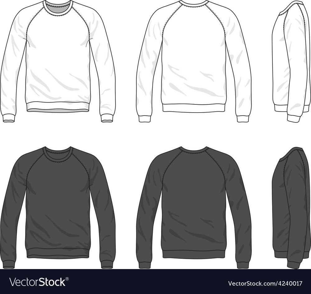 Front back and side views of blank raglan long vector | Price: 1 Credit (USD $1)