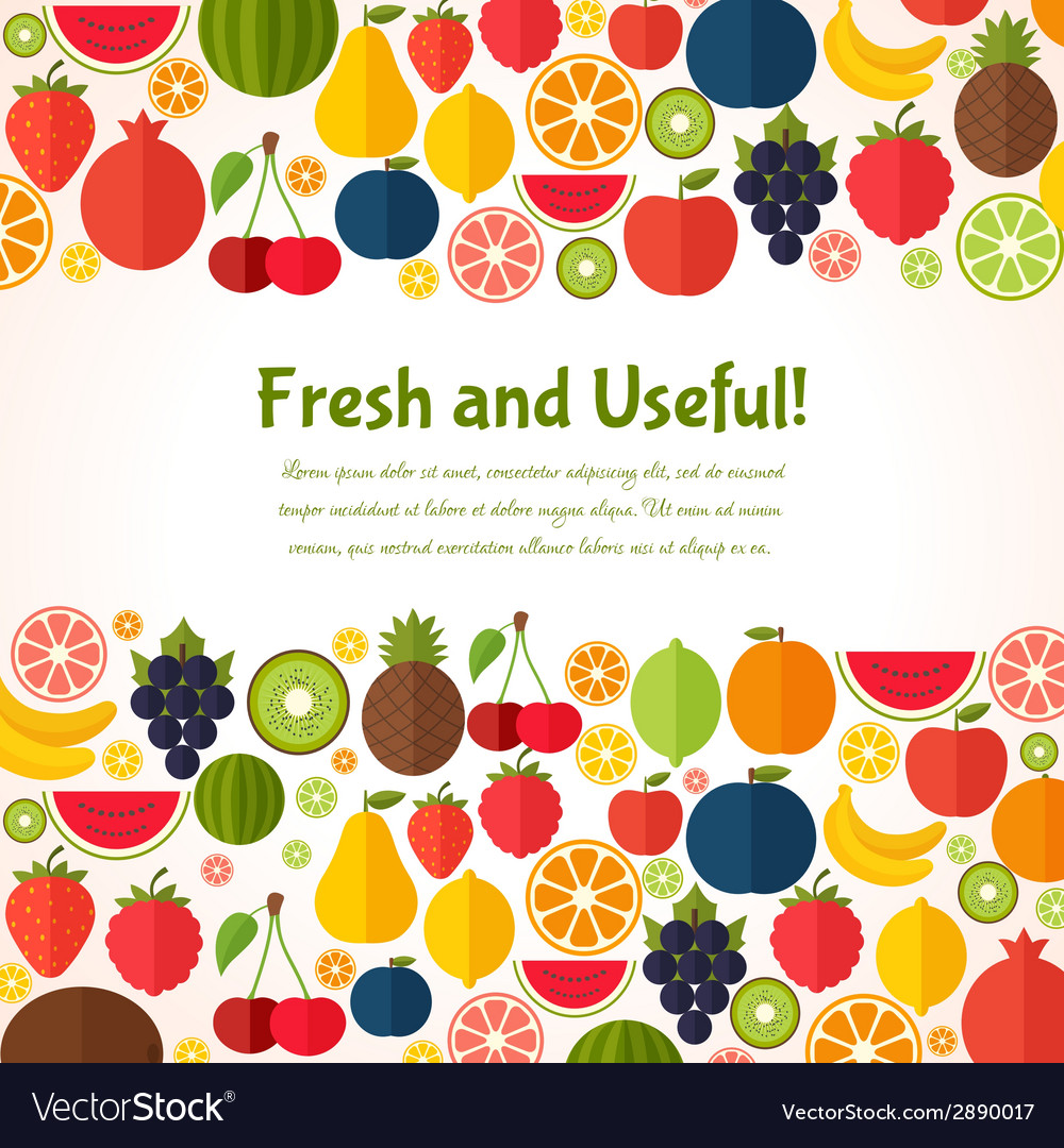 Fruits background colorful template for cooking vector | Price: 1 Credit (USD $1)
