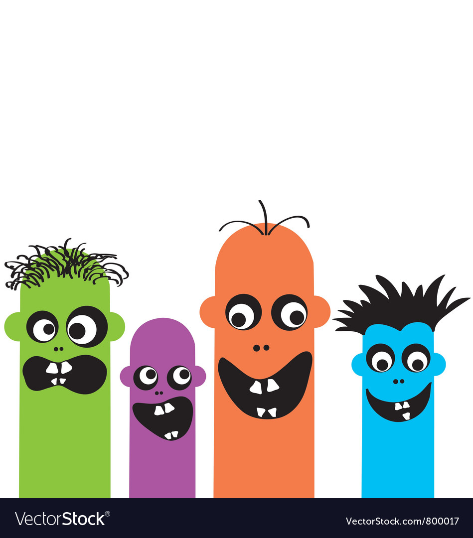 Funny cartoon monsters vector | Price: 1 Credit (USD $1)