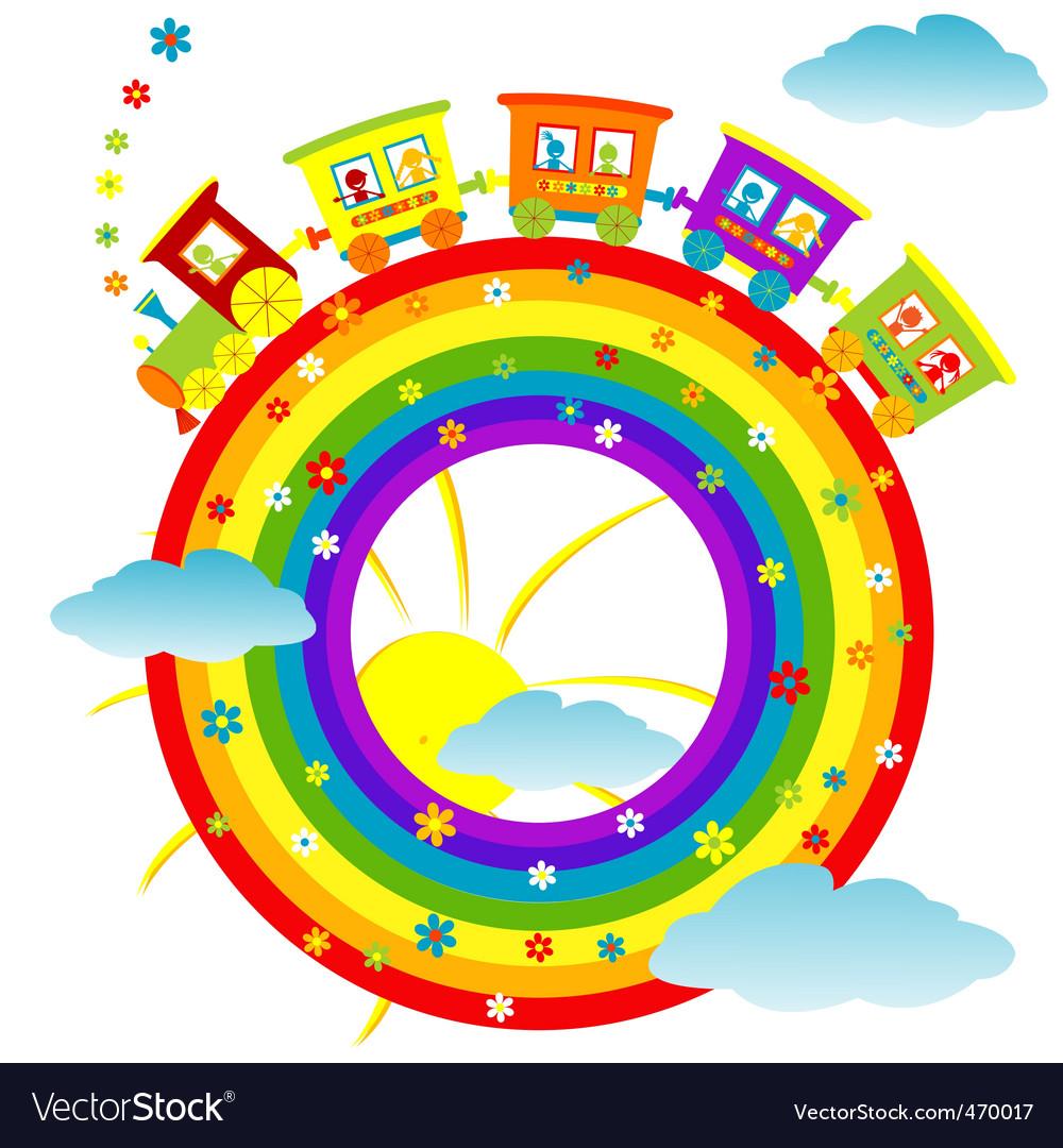 Rainbow toy train vector | Price: 1 Credit (USD $1)