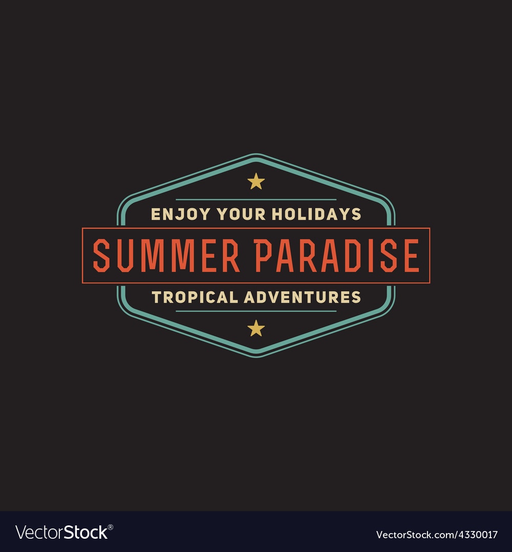 Retro summer vintage label on dark background vector | Price: 1 Credit (USD $1)