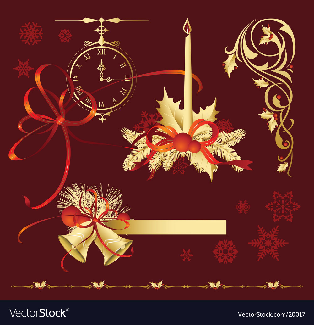 Set of christmas decoration variation vector | Price: 1 Credit (USD $1)