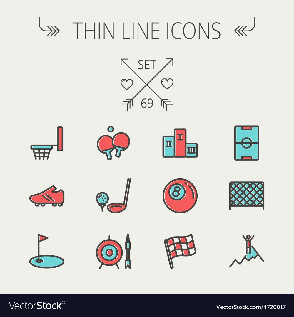 Sports thin line icon set vector | Price: 1 Credit (USD $1)