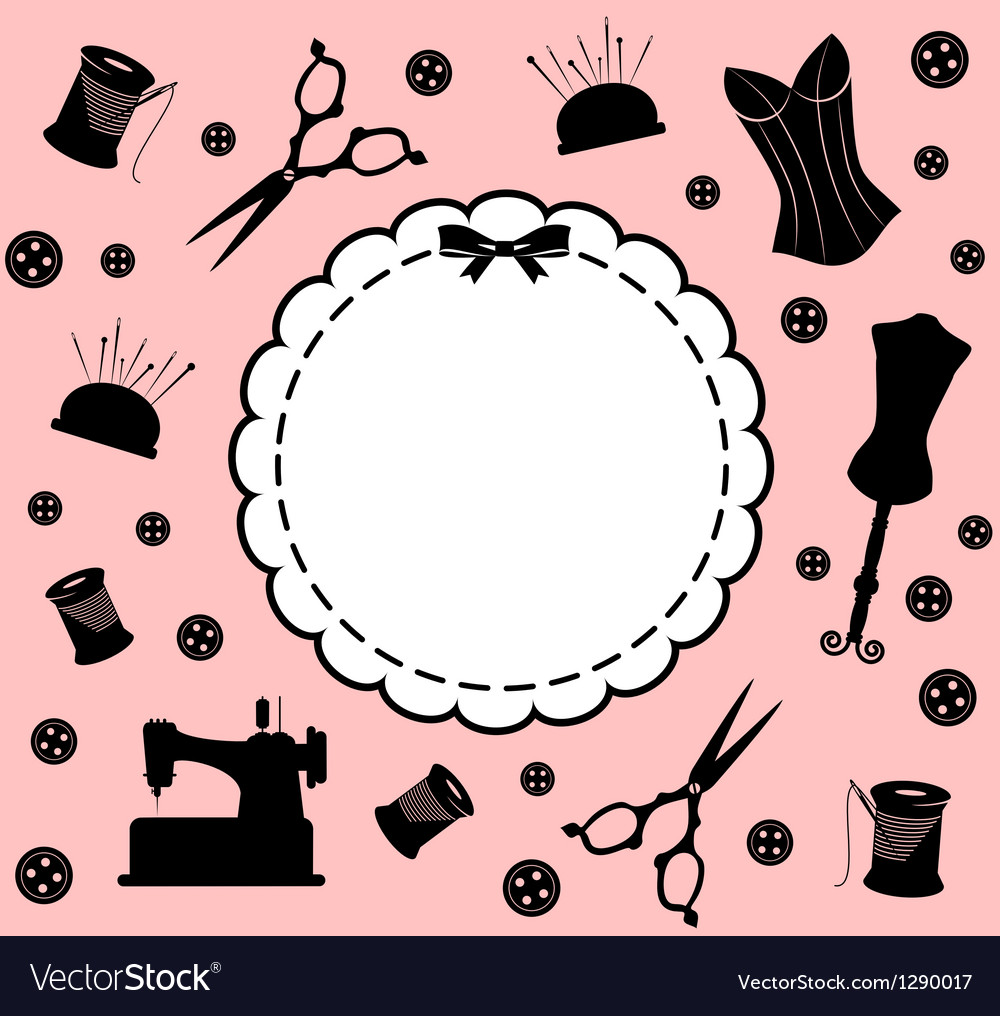 Vintage sewing related elements vector   Price: 1 Credit (USD $1)