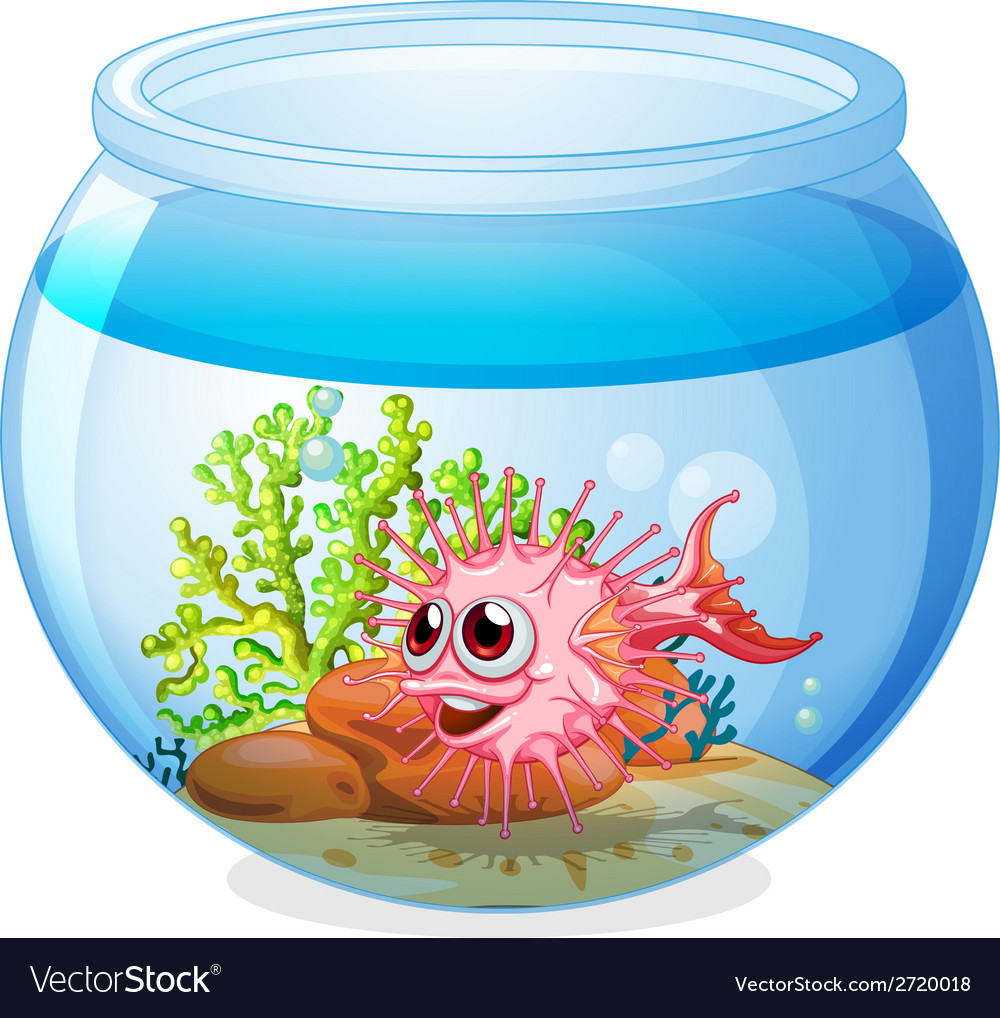 A fish inside the transparent aquarium vector | Price: 1 Credit (USD $1)