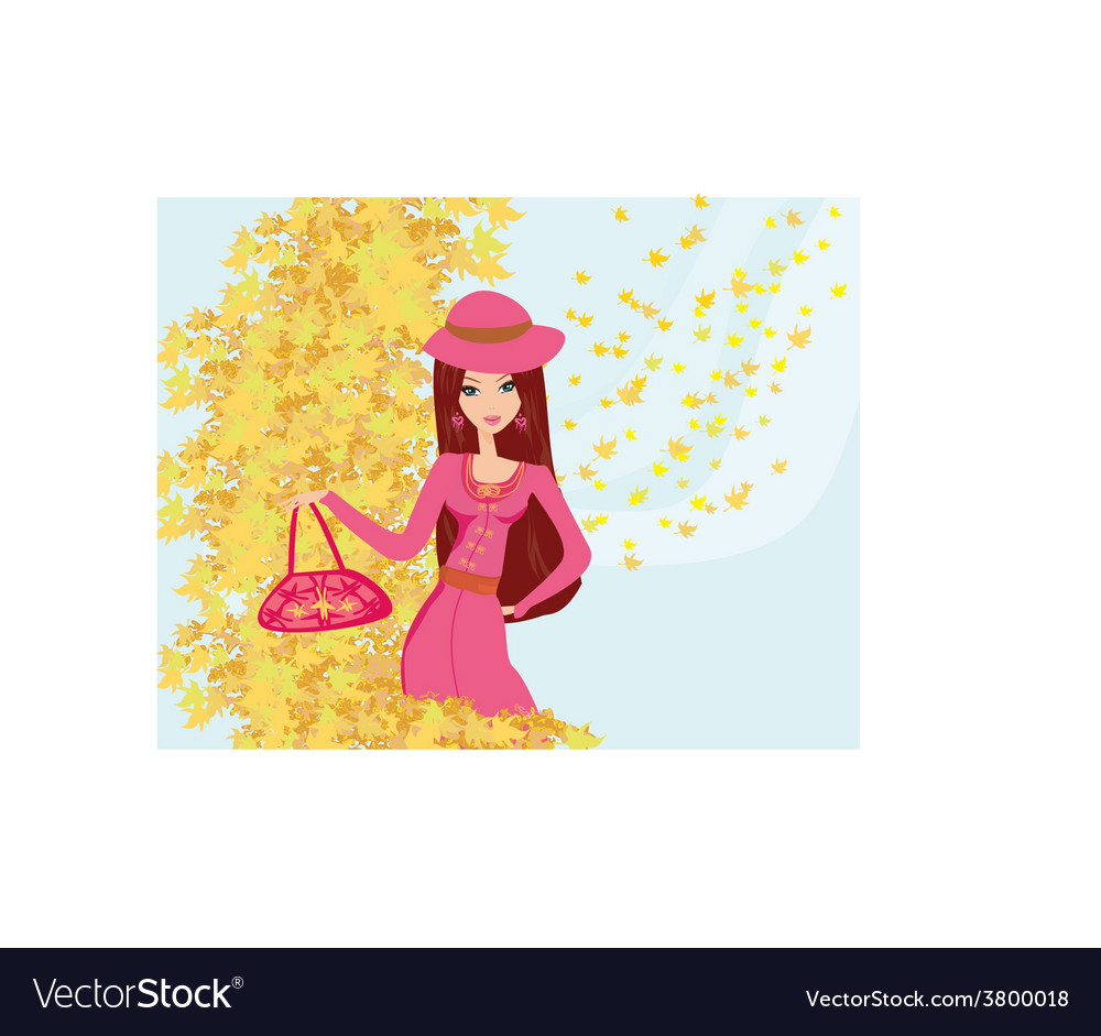 Beautiful girl in autumn background vector | Price: 1 Credit (USD $1)