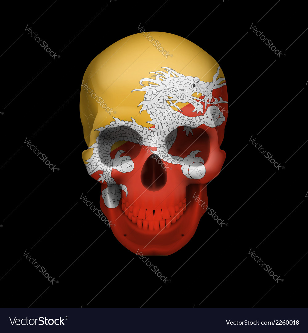 Bhutanese flag skull vector | Price: 1 Credit (USD $1)