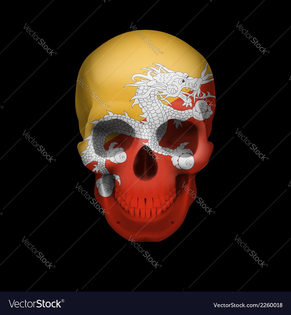 Bhutanese flag skull vector | Price: 1 Credit (USD $1)
