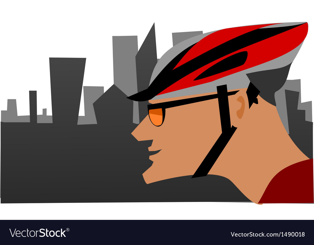 Biker and the city vector | Price: 1 Credit (USD $1)
