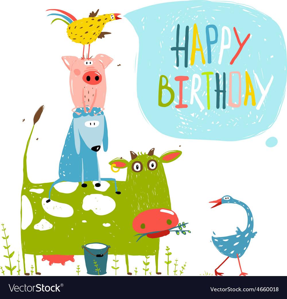 Birthday fun cartoon farm animals pyramid greeting vector | Price: 1 Credit (USD $1)