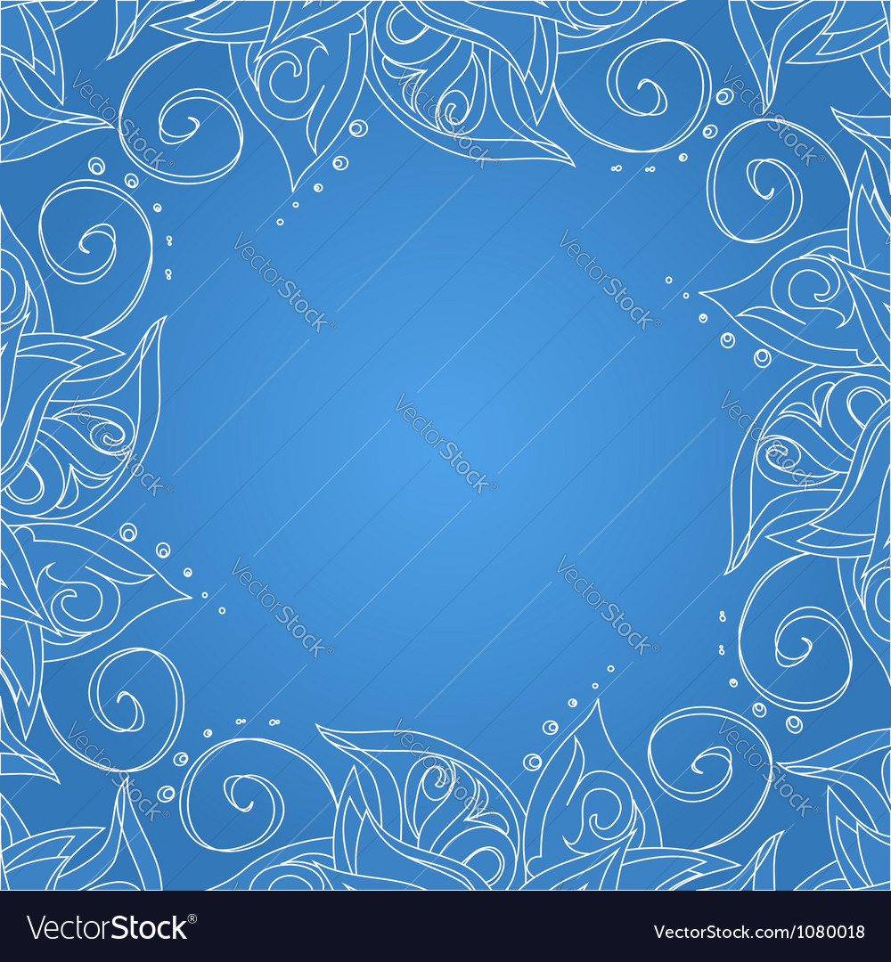 Blue background with floral ornament vector | Price: 1 Credit (USD $1)