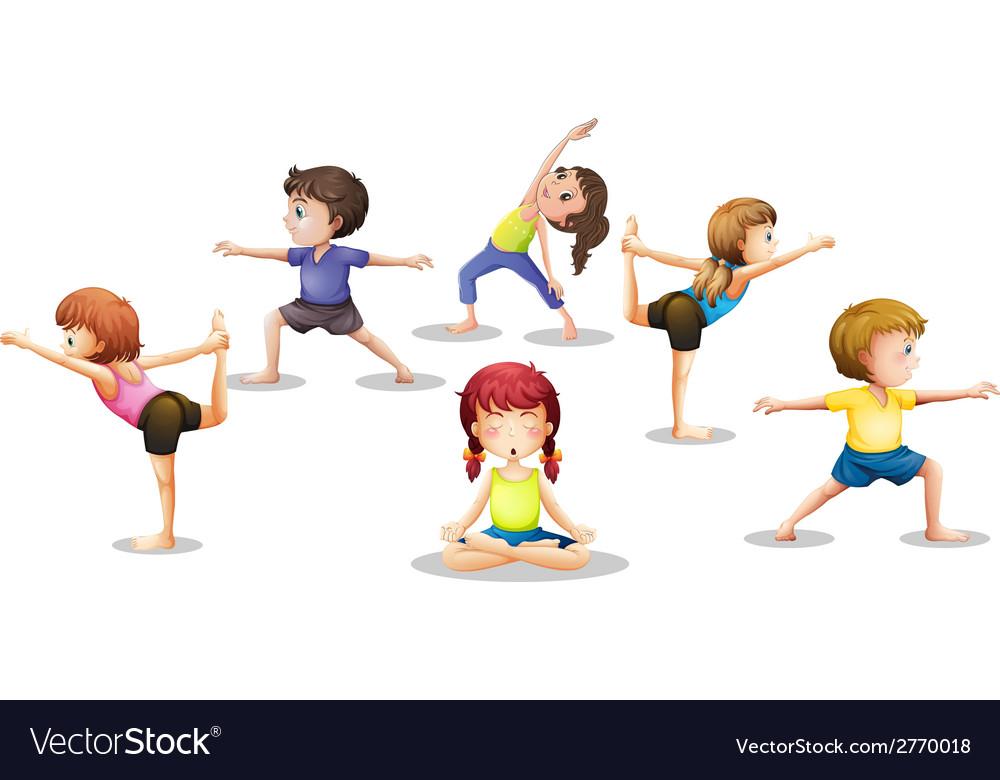 Children stretching vector | Price: 1 Credit (USD $1)