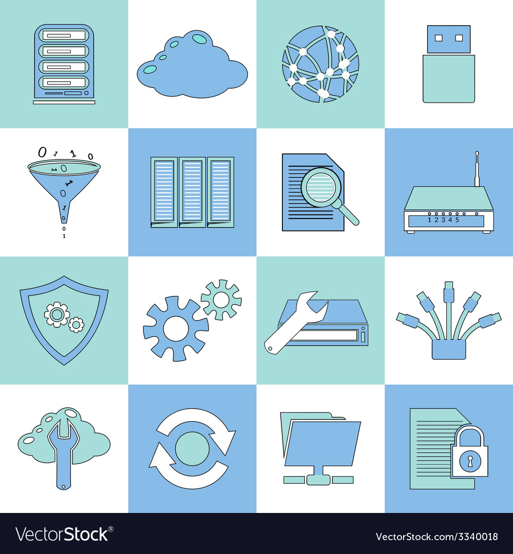 Database icons flat line vector | Price: 1 Credit (USD $1)