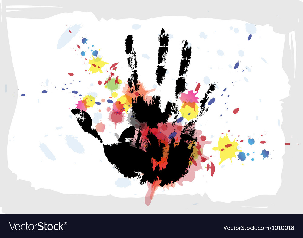 Hand print on ink splatter background vector | Price: 1 Credit (USD $1)