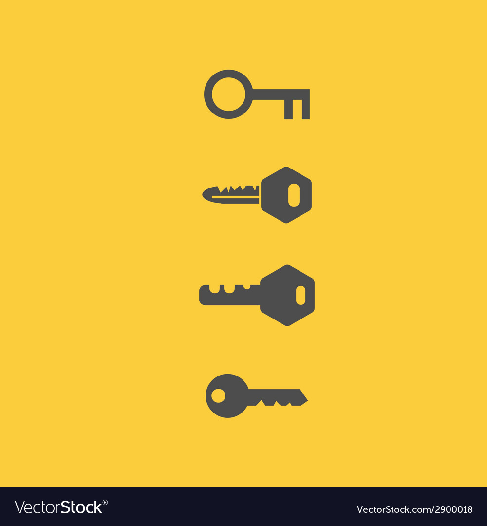 Key icons flat style vector | Price: 1 Credit (USD $1)