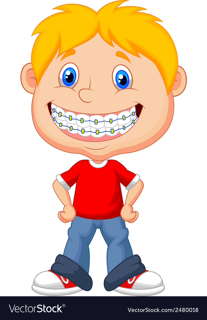 Little boy cartoon with brackets vector | Price: 1 Credit (USD $1)