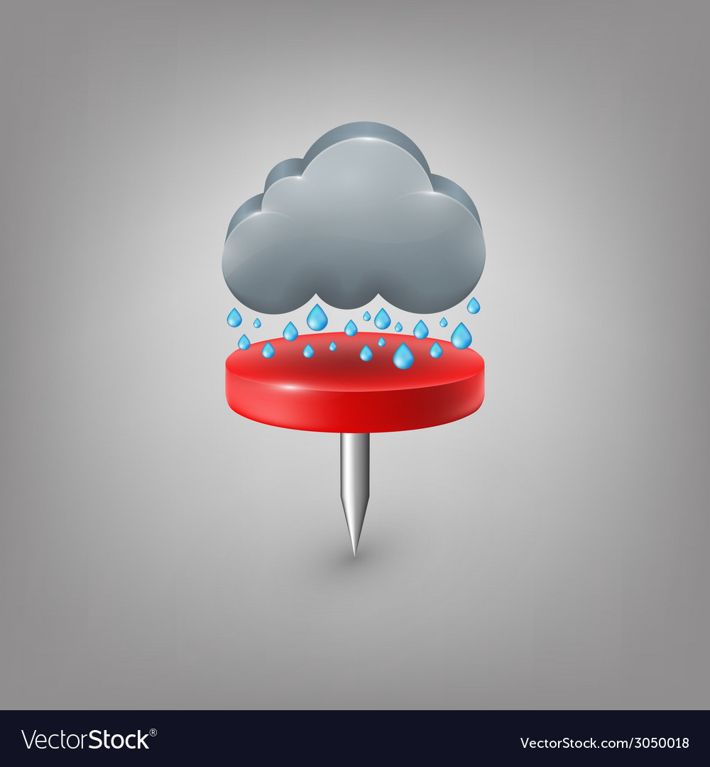 Red pin icon weather rain cloud vector | Price: 1 Credit (USD $1)