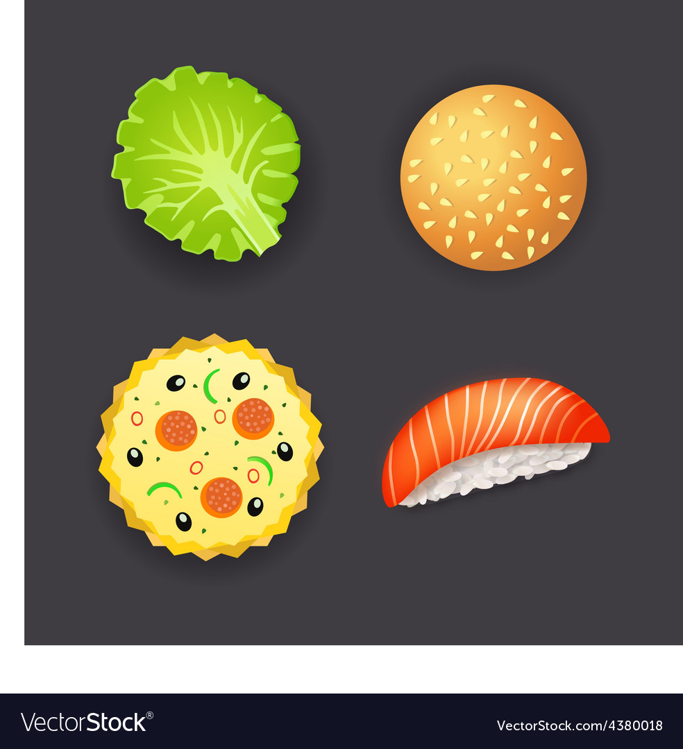 Set of dinner pizza burger sushi and salad leaf vector | Price: 1 Credit (USD $1)