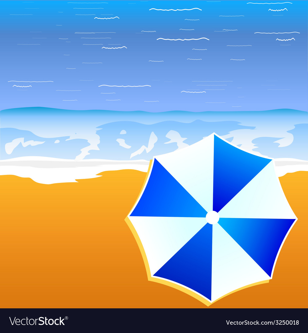 Umbrella blue and white color on the beach vector   Price: 1 Credit (USD $1)