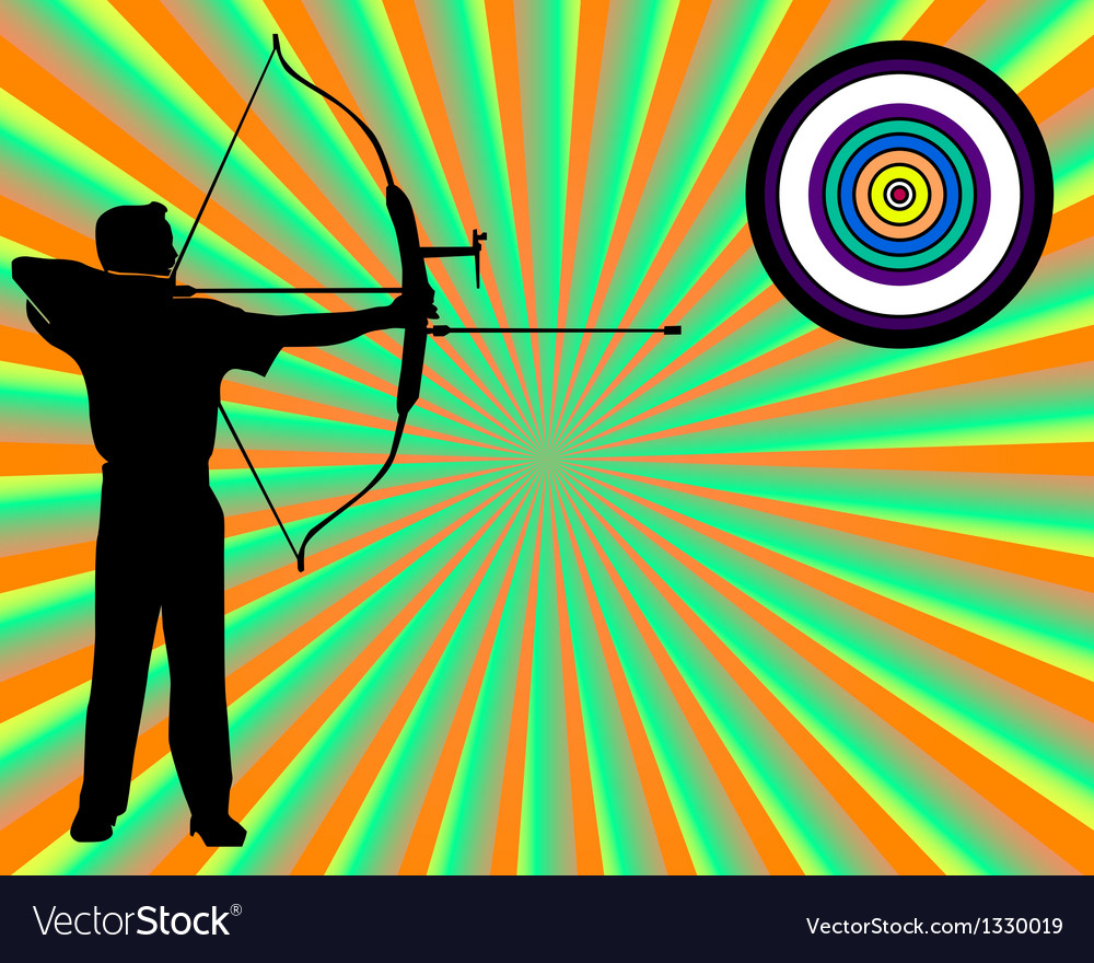 Archer shoots at a target vector | Price: 1 Credit (USD $1)
