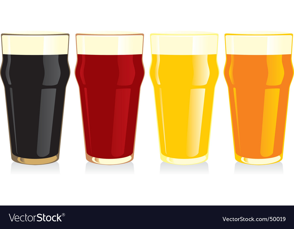 Beer glasses set vector | Price: 1 Credit (USD $1)