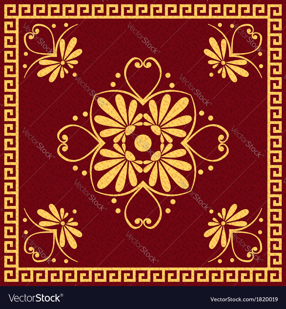Gold and red greek ornament meander vector | Price: 1 Credit (USD $1)
