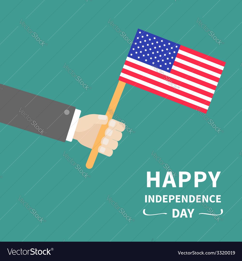 Hand businessman american flag independence day vector | Price: 1 Credit (USD $1)