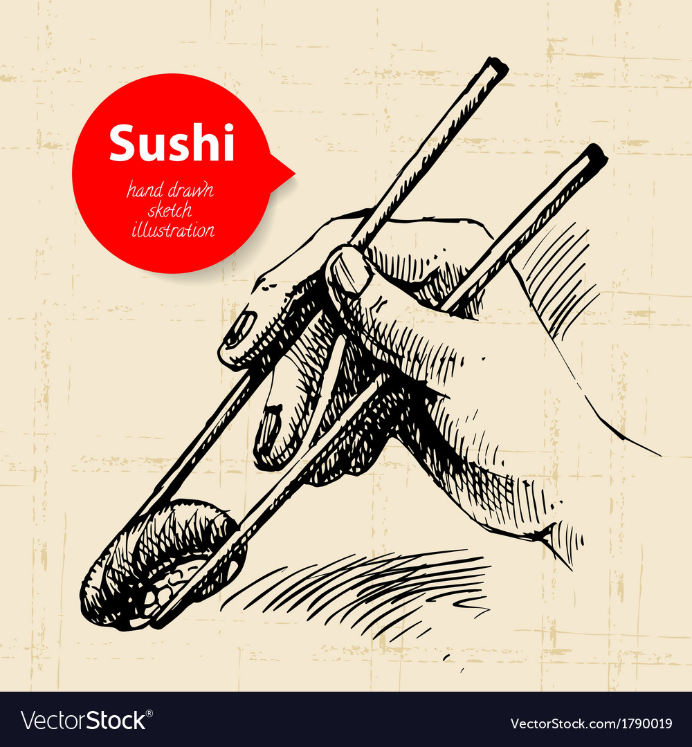 Hand drawn sushi sketch background vector | Price: 1 Credit (USD $1)
