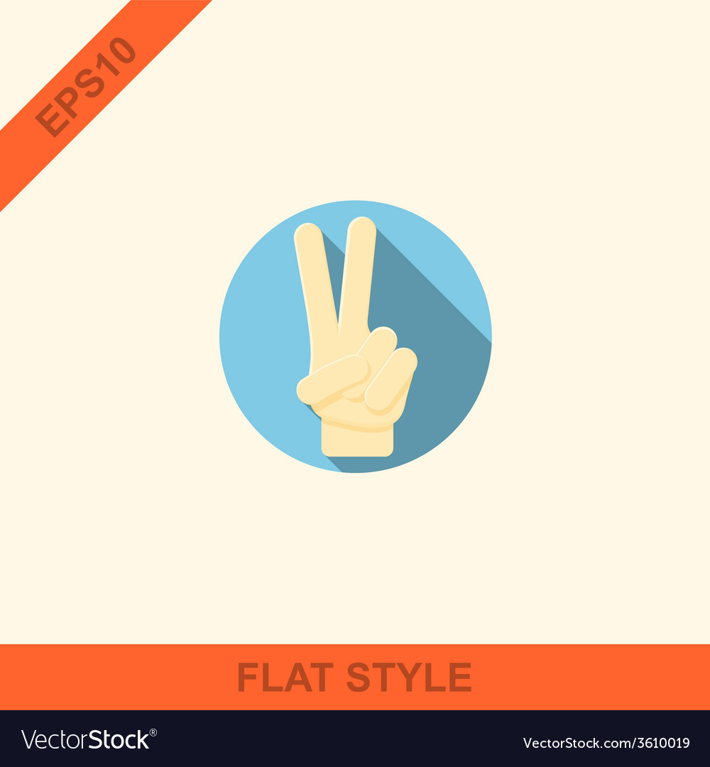 Hand showing number two flat icon vector | Price: 1 Credit (USD $1)