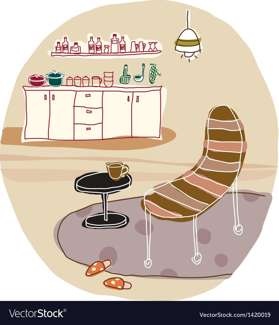 Home lounge interior vector | Price: 1 Credit (USD $1)
