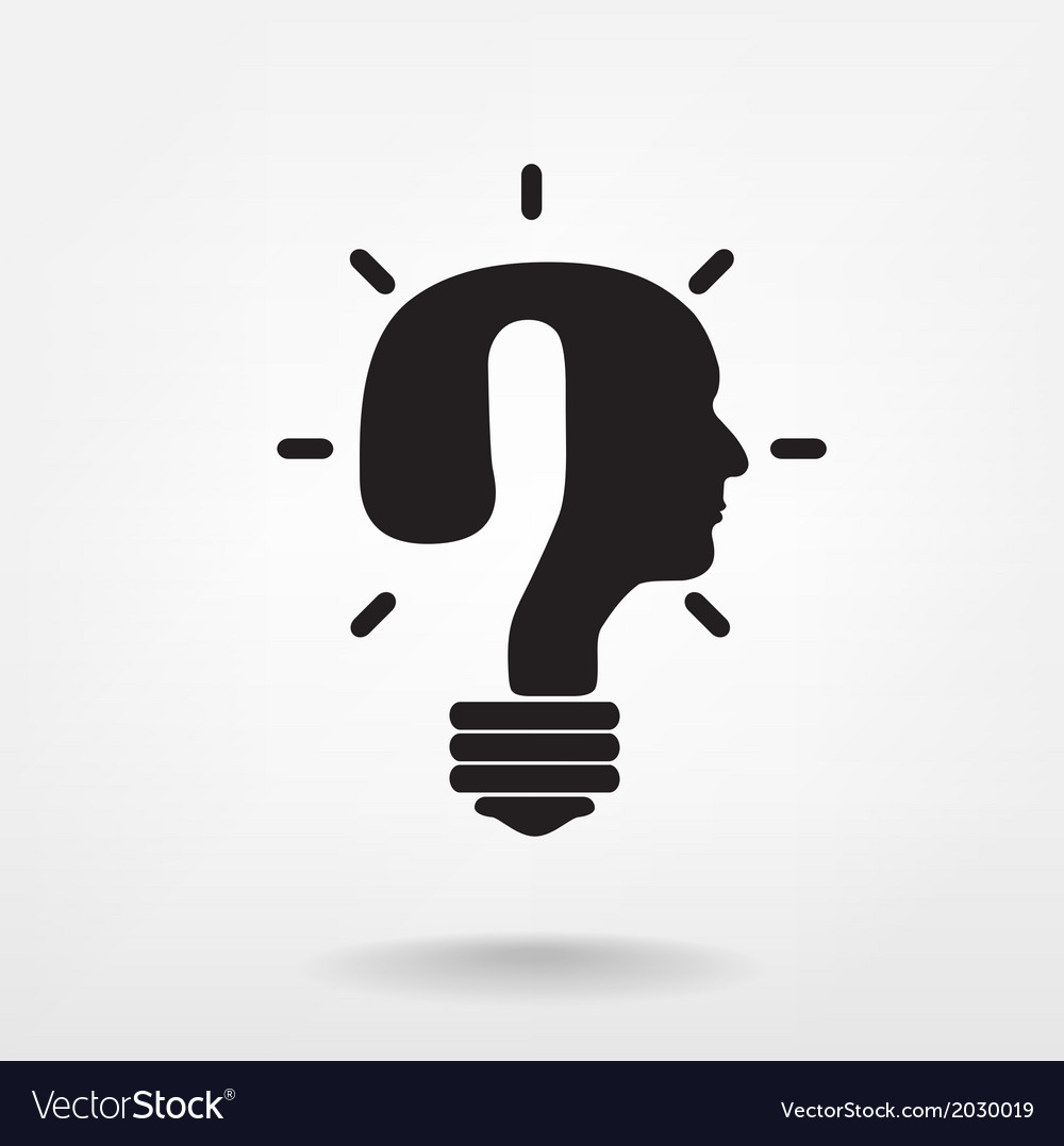 Question mark man head symbol and light bulb shape vector | Price: 1 Credit (USD $1)