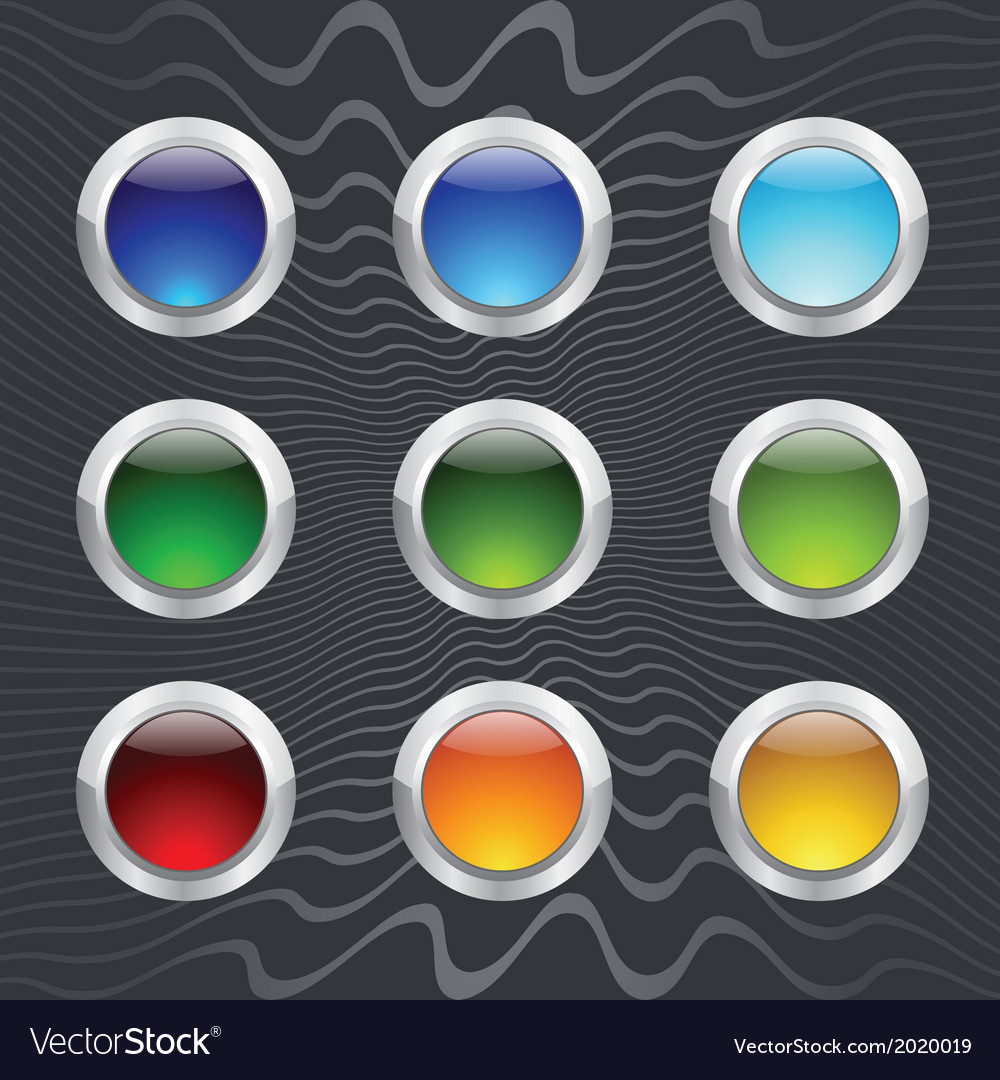 Set of colored round buttons vector | Price: 1 Credit (USD $1)