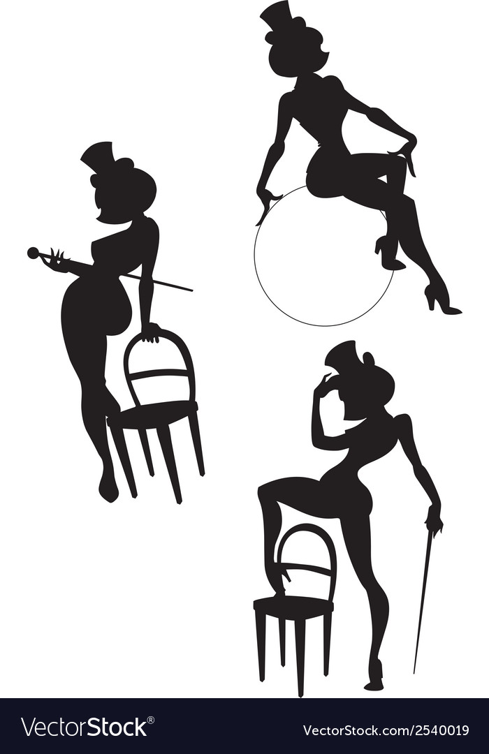 Silhouettes of perfomance burlesque artist vector | Price: 1 Credit (USD $1)