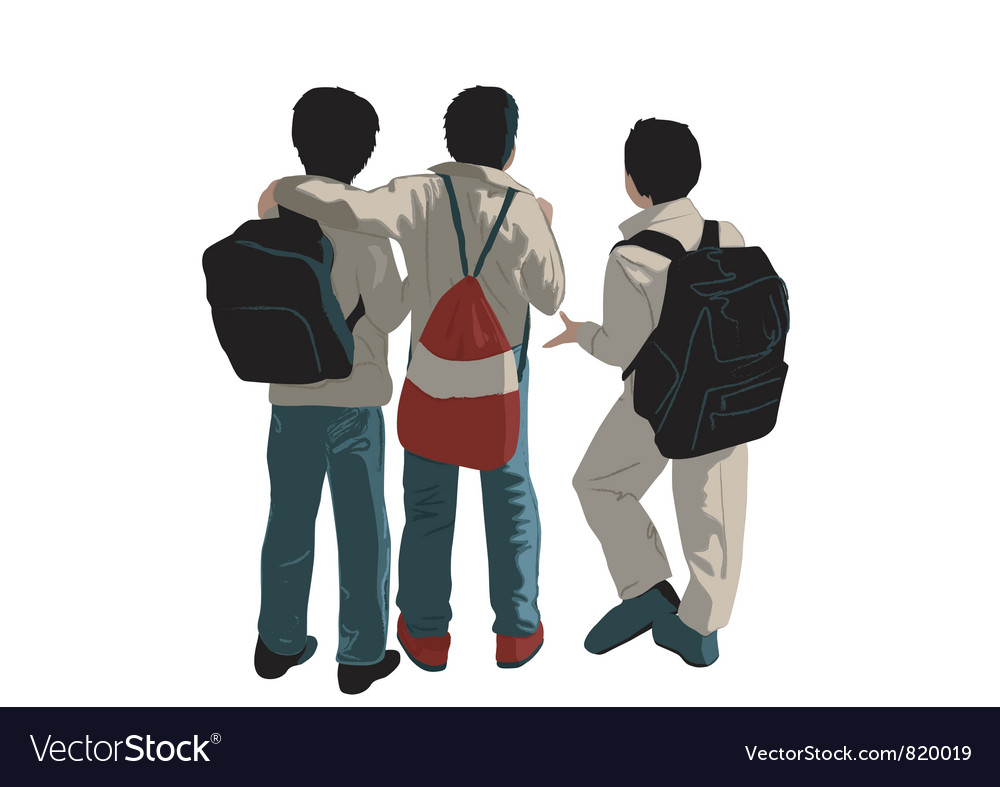 Three friends vector | Price: 1 Credit (USD $1)