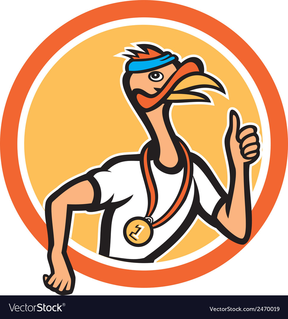 Turkey runner thumbs up cartoon vector | Price: 1 Credit (USD $1)