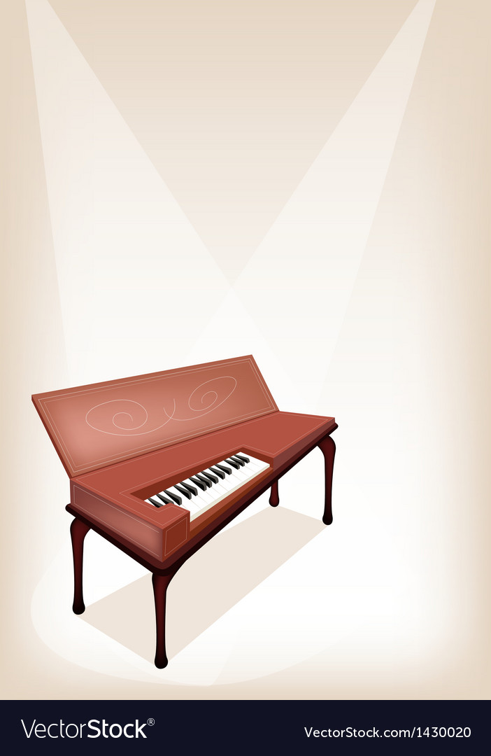 A retro clavichord on brown stage background vector | Price: 1 Credit (USD $1)