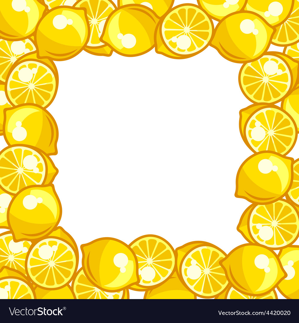 Background design with stylized fresh ripe lemons vector