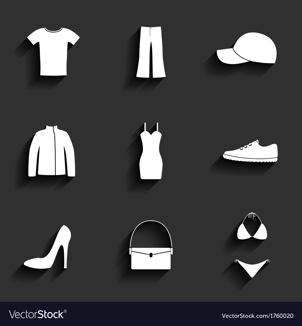 Clothes flat icons set vector | Price: 1 Credit (USD $1)