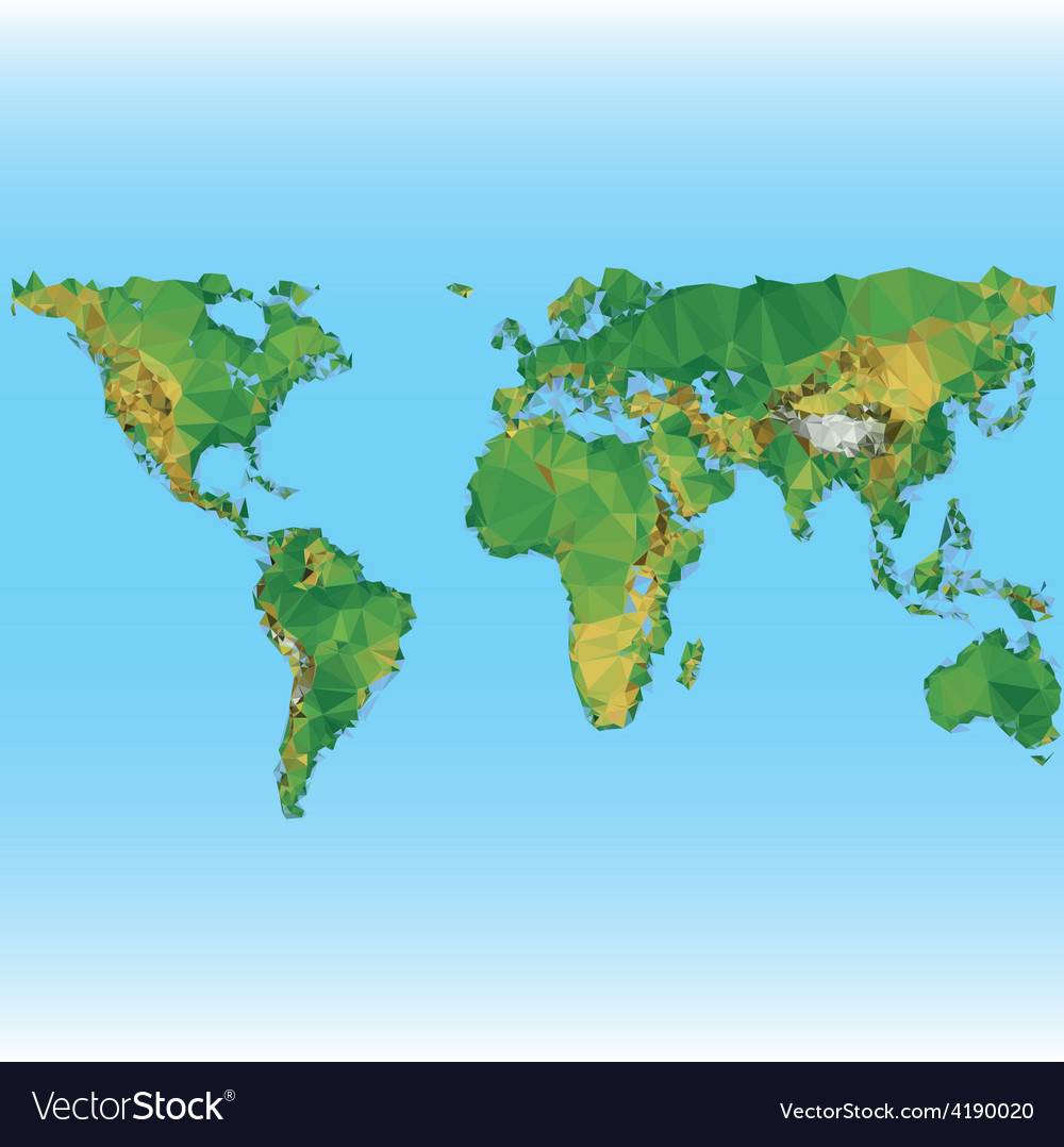 Earth world map low poly vector | Price: 1 Credit (USD $1)