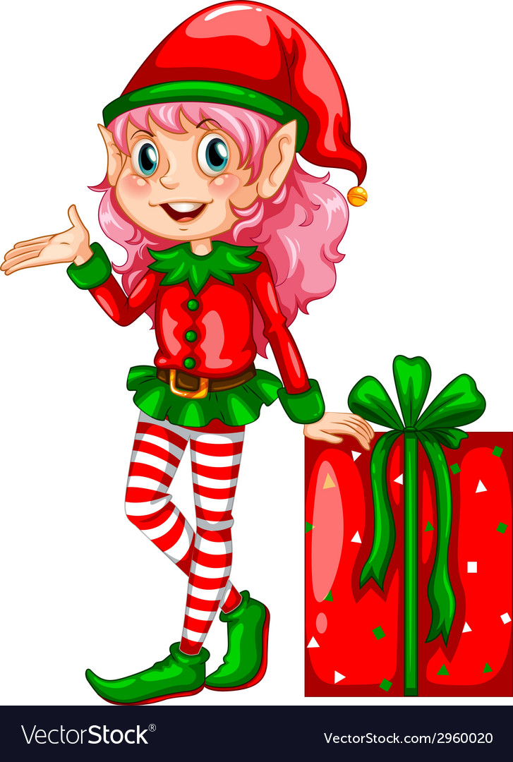 Elf and gift vector | Price: 1 Credit (USD $1)