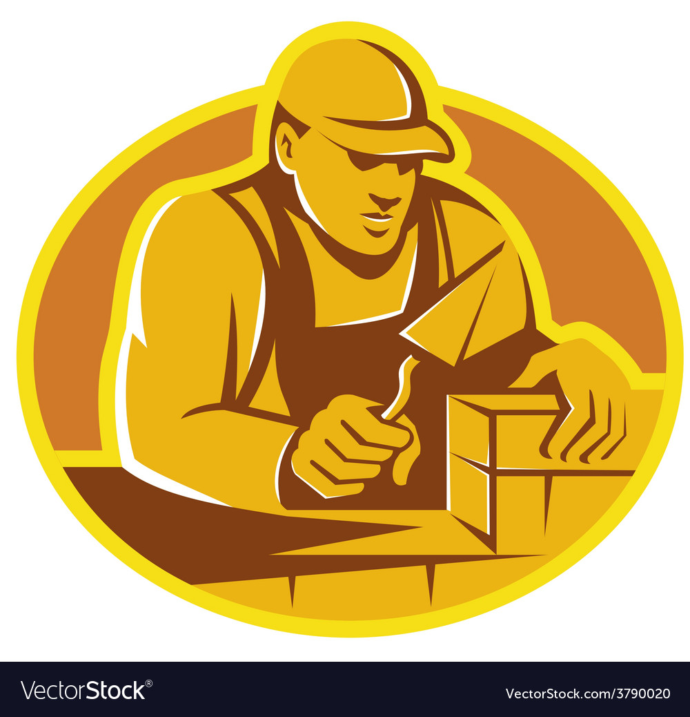 Mason brick layer construction worker vector | Price: 1 Credit (USD $1)