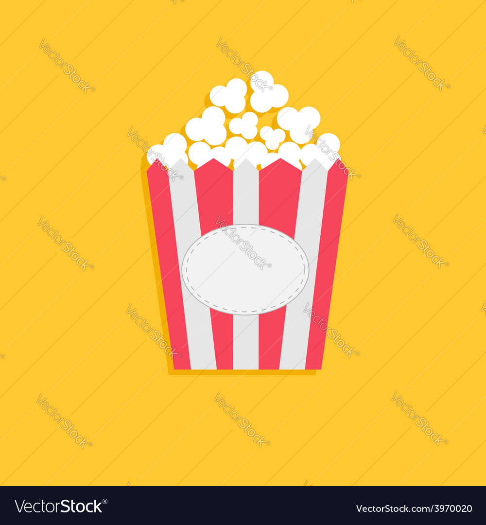 Popcorn package bag with empty label tag cinema vector | Price: 1 Credit (USD $1)