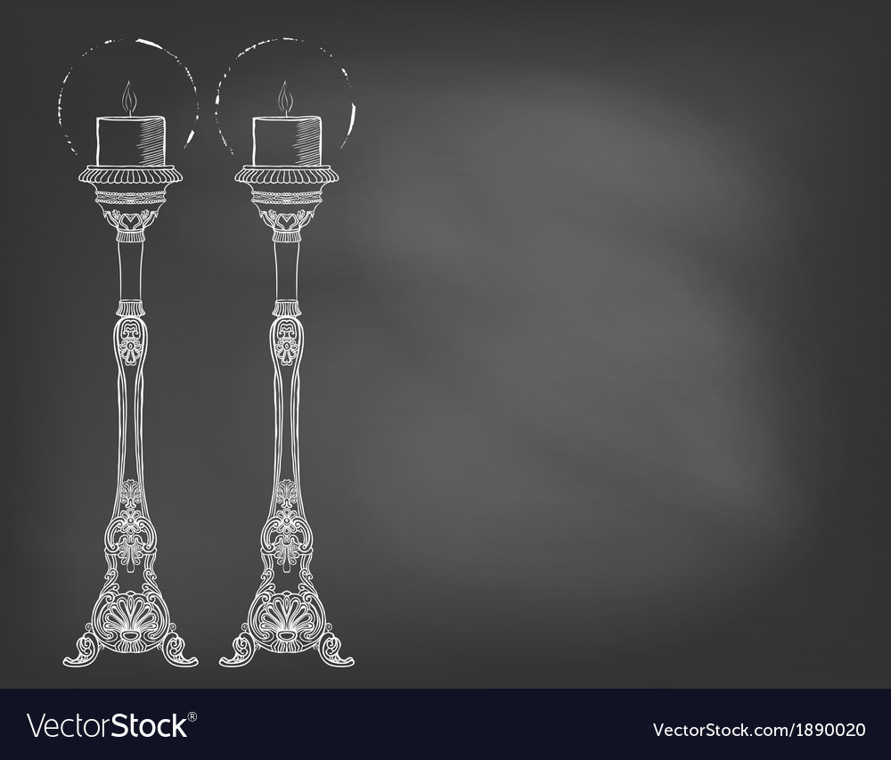 Two highly ornamental candles on chalkboard vector