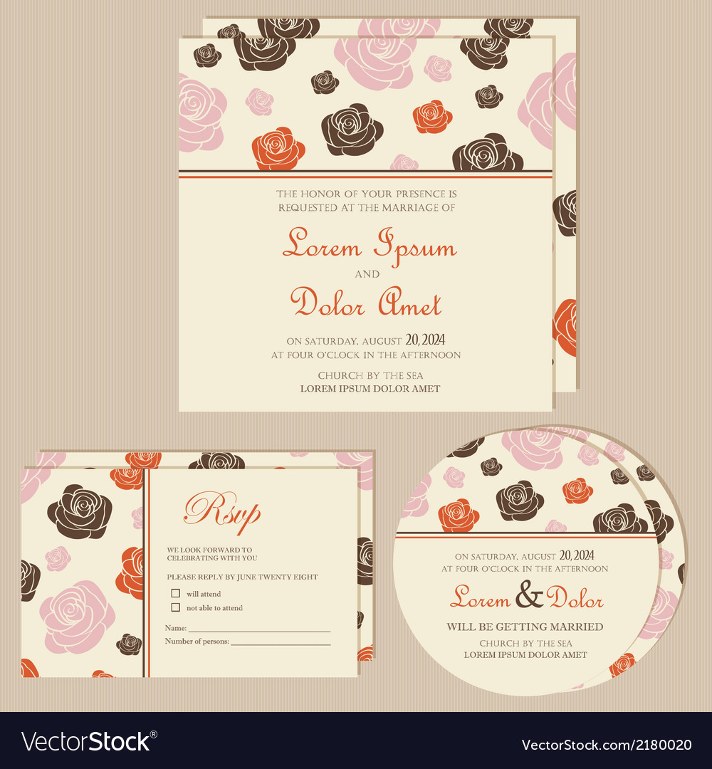 Wedding invitation cards with roses vector | Price: 1 Credit (USD $1)