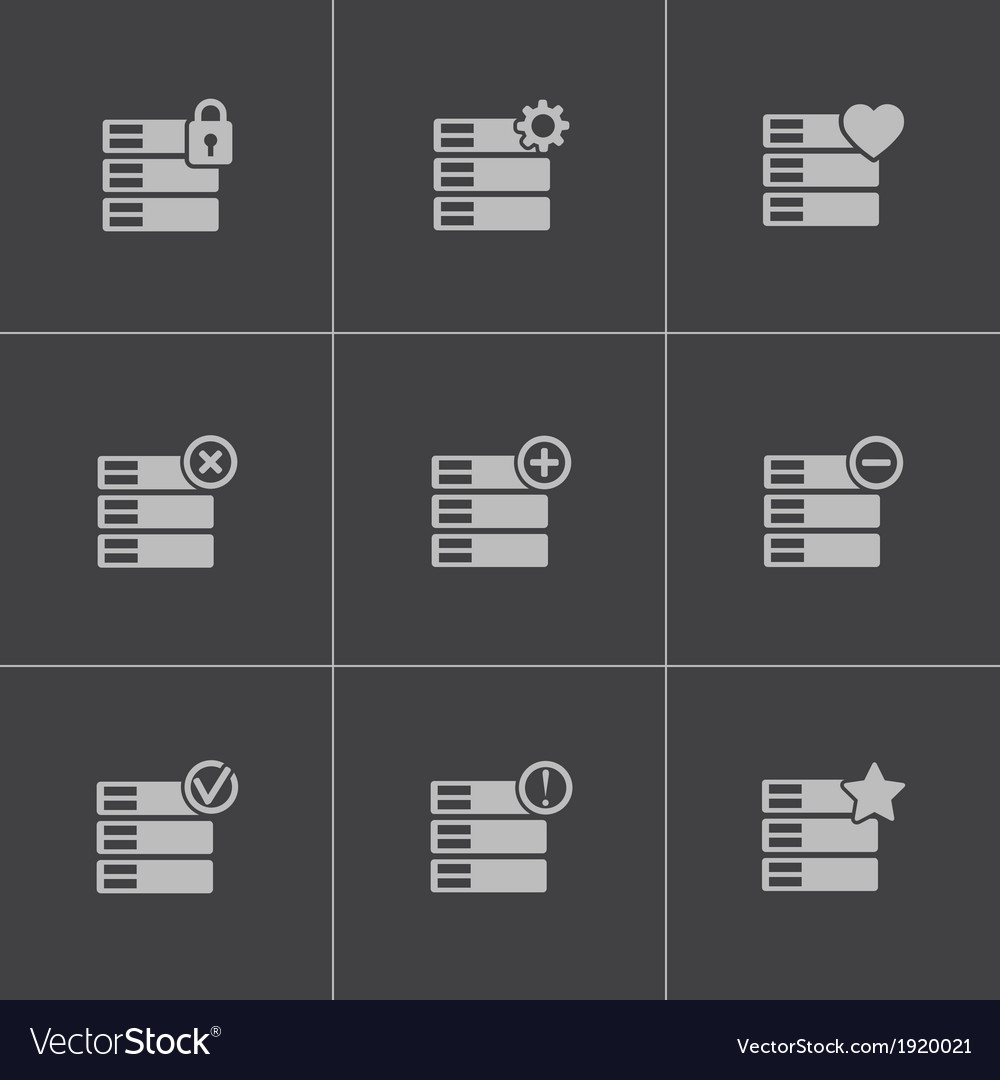 Black database icons set vector | Price: 1 Credit (USD $1)