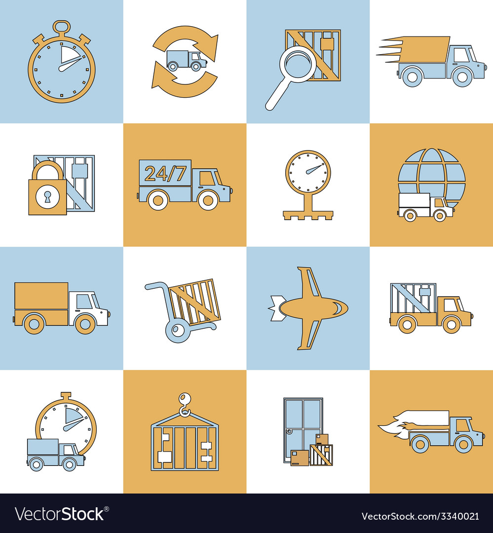 Delivery icons set flat line vector | Price: 1 Credit (USD $1)
