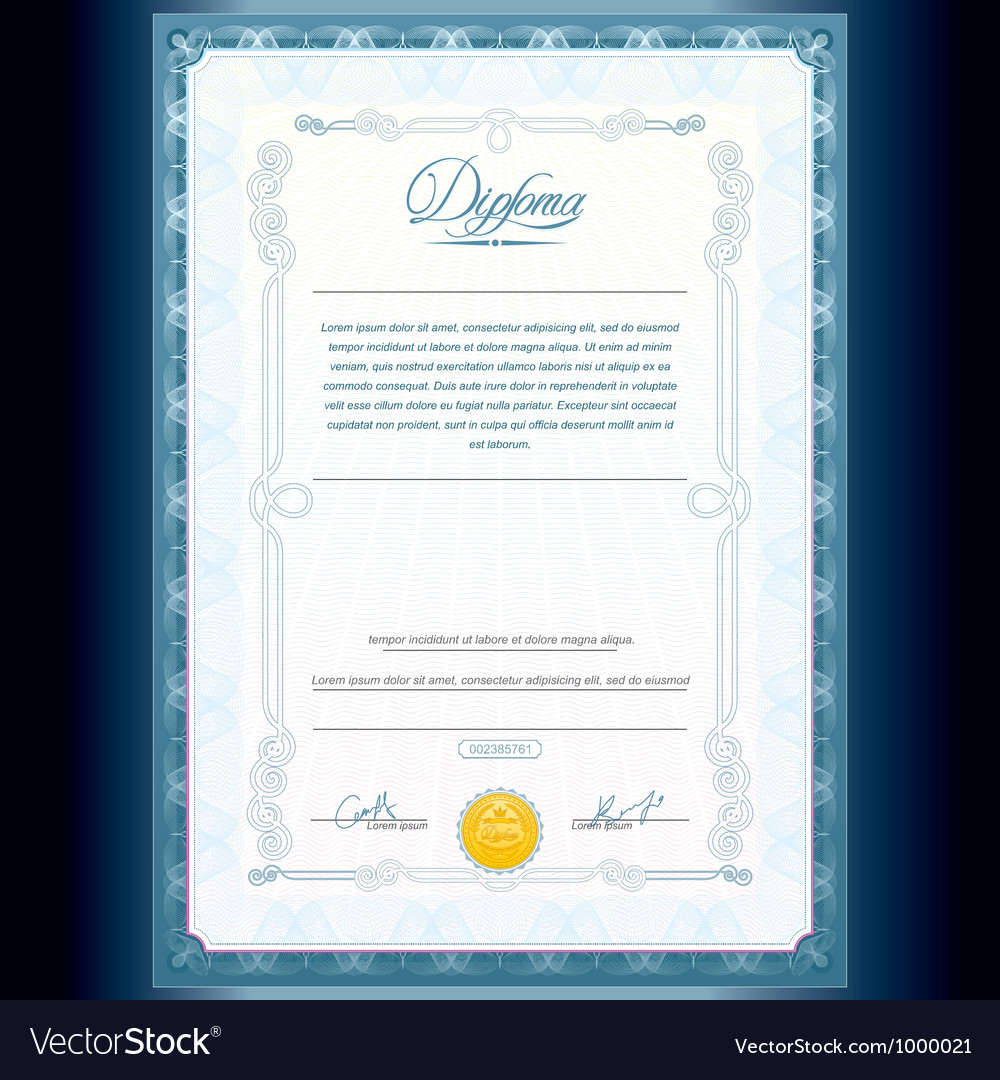 Diploma certificate design template vector | Price: 1 Credit (USD $1)